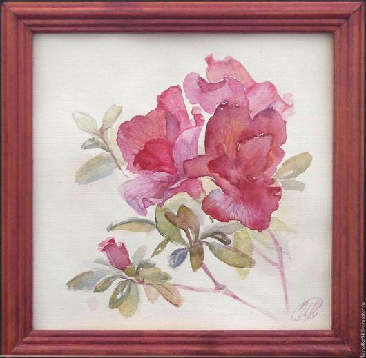 Небольшая картина акварелью натюрморт акварелью цветок азалии недорогой подарок женщине девушке на день рождения любителям цветов азалий цвета фуксии розового сиреневого красного кораллового