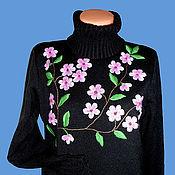 Одежда ручной работы. Ярмарка Мастеров - ручная работа джемпер вязаный женский  Цвет сакуры с вышивкой. Handmade.