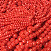 Бусины ручной работы. Ярмарка Мастеров - ручная работа Жемчуг Майорка  (47) Красный Коралл Шар, размеры с 3 по 14 мм. Handmade.