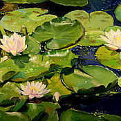 Pictures handmade. Livemaster - original item Oil painting on canvas. Water lilies.. Handmade.