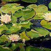 Картины и панно handmade. Livemaster - original item Oil painting on canvas. Water lilies.. Handmade.