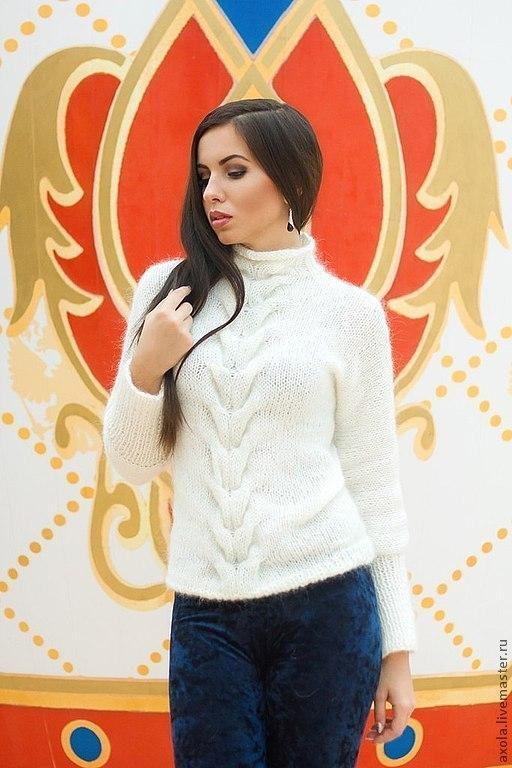 """Кофты и свитера ручной работы. Ярмарка Мастеров - ручная работа. Купить Пуловер """"Февраль"""". Handmade. Белый, вязаный пуловер"""