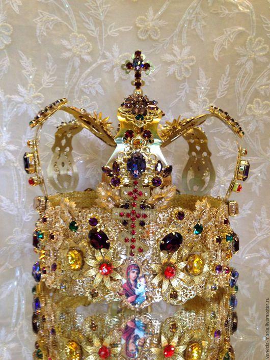 Диадемы, обручи ручной работы. Ярмарка Мастеров - ручная работа. Купить Корона венчальная женская. Handmade. Золотой, кристаллы для украшений
