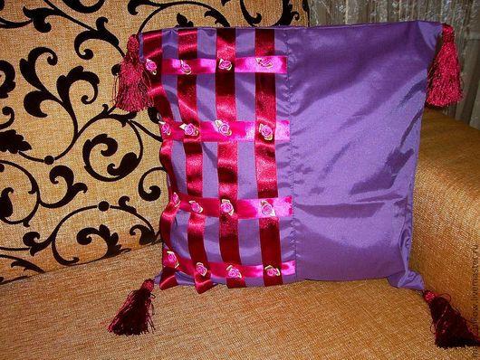 """Текстиль, ковры ручной работы. Ярмарка Мастеров - ручная работа. Купить Подушка (набор подушек-2шт)"""" Бордо на фиолетовом"""". Handmade."""