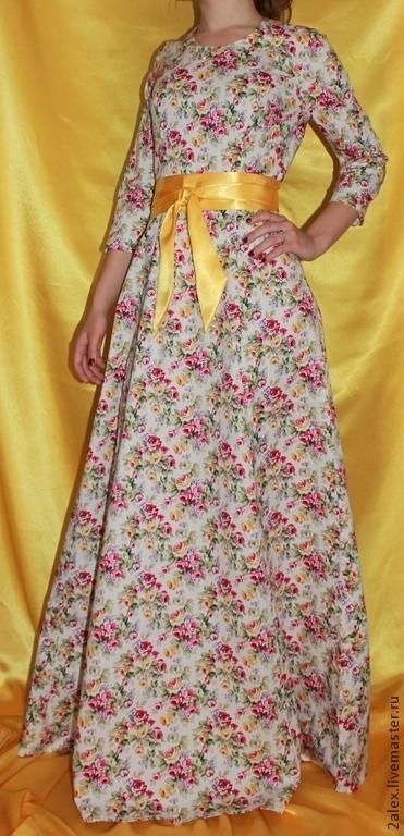 """Платья ручной работы. Ярмарка Мастеров - ручная работа. Купить Платье хлопковое """"Розовое сумашествие"""" белое. Handmade. Цветочный, 5%эластан"""