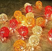 Для дома и интерьера ручной работы. Ярмарка Мастеров - ручная работа Оранжевая ротанговая гирлянда. Handmade.