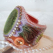 Украшения handmade. Livemaster - original item Bracelet with Shibori silk ribbon and Coil Warm Day. Handmade.