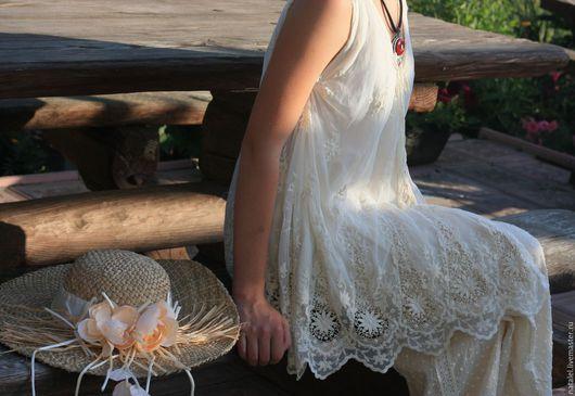 Блузки ручной работы. Ярмарка Мастеров - ручная работа. Купить Туника ажурная. Handmade. Бежевый, блузка ажурная