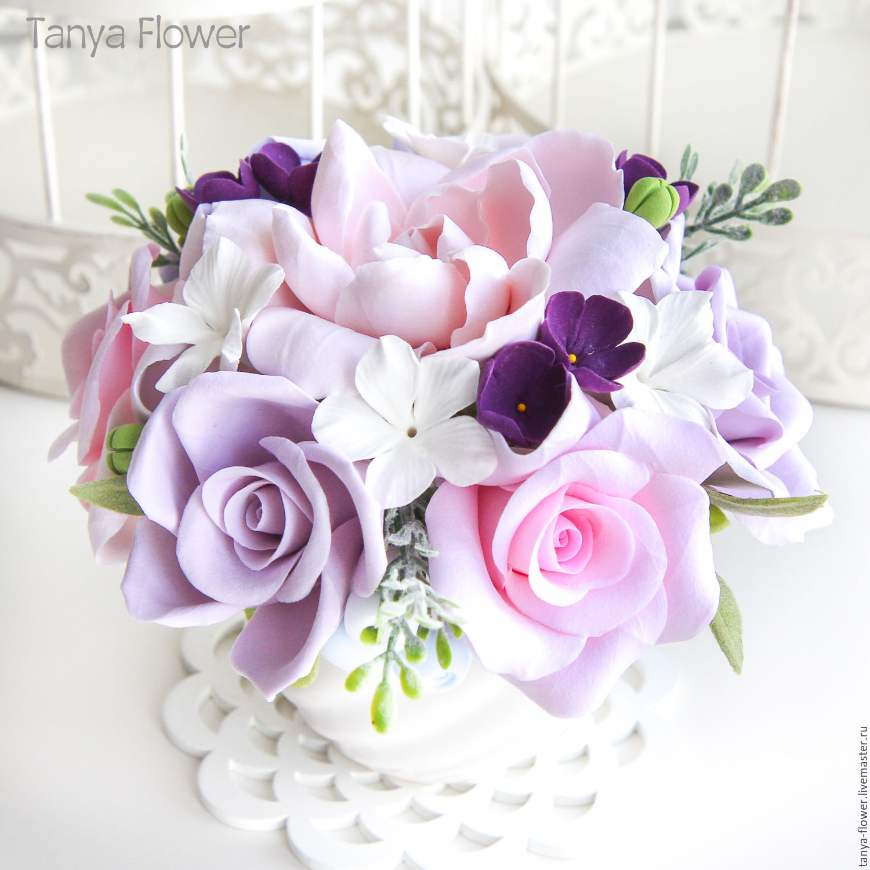 из меха букетик цветы