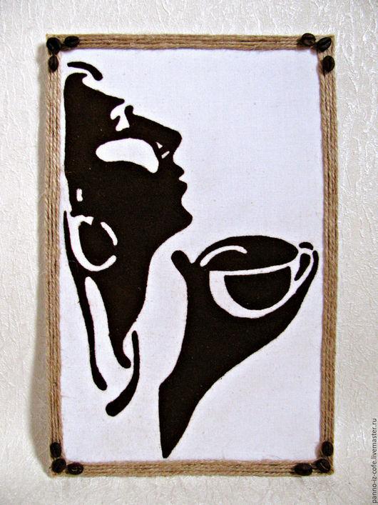 """Люди, ручной работы. Ярмарка Мастеров - ручная работа. Купить Картина-панно из молотого кофе """"Дама с кофе"""". Handmade. Комбинированный"""