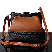 Сумки и аксессуары handmade. Livemaster - original item Brown leather bag with clasp long strap. Handmade.