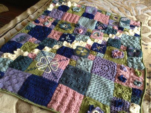 Текстиль, ковры ручной работы. Ярмарка Мастеров - ручная работа. Купить Плед Мозаика. Handmade. Разноцветный, подарок на 8 марта
