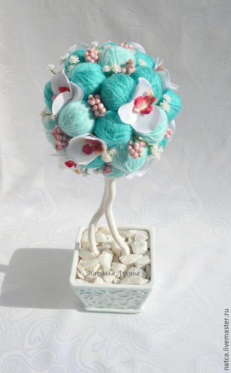 """Топиарии ручной работы. Ярмарка Мастеров - ручная работа. Купить Топиарий, дерево счастья """"Тиффани"""". Handmade. Бирюзовый, топиарий из цветов"""