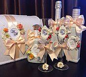 Свадебный салон ручной работы. Ярмарка Мастеров - ручная работа Свадебный набор аксессуаров , за полным перечнем работ - в ЛС. Handmade.