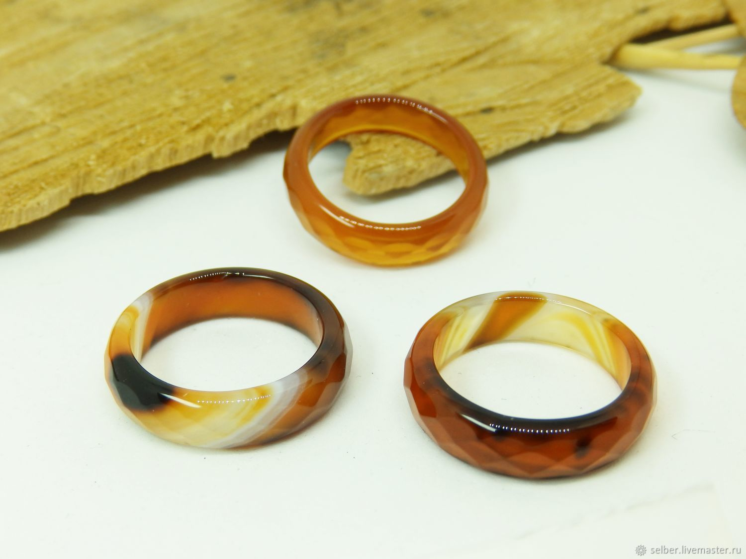 Ring of brown-red agate 18 R-R with cut, Rings, Gatchina,  Фото №1