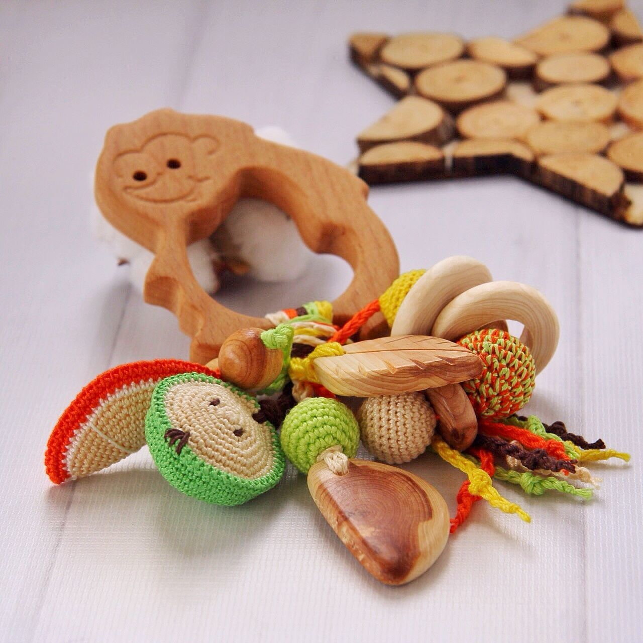 Rattle, teething toy for baby eco-friendly juniper Forest hedgehog, Teethers rattles, Moscow,  Фото №1