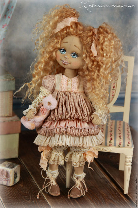 Коллекционные куклы ручной работы. Ярмарка Мастеров - ручная работа. Купить Розочка .Кукла авторская текстильная. Handmade. Кремовый, замша