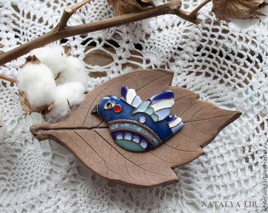 """Броши ручной работы. Ярмарка Мастеров - ручная работа. Купить Брошь """"Синяя Птица Счастья"""". Handmade. Синий, медное украшение"""