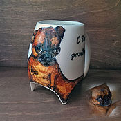 """Посуда ручной работы. Ярмарка Мастеров - ручная работа """"Портрет собаки"""" чашка с ножками. Handmade."""