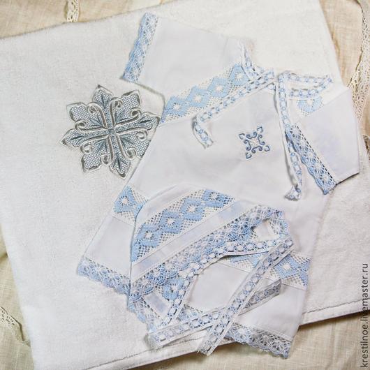 комплект для крещения мальчика: чепчик, рубашка, полотенце