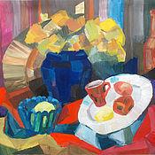 Картины и панно ручной работы. Ярмарка Мастеров - ручная работа Картина. Натюрморт с желтыми цветами в синей вазе. Handmade.