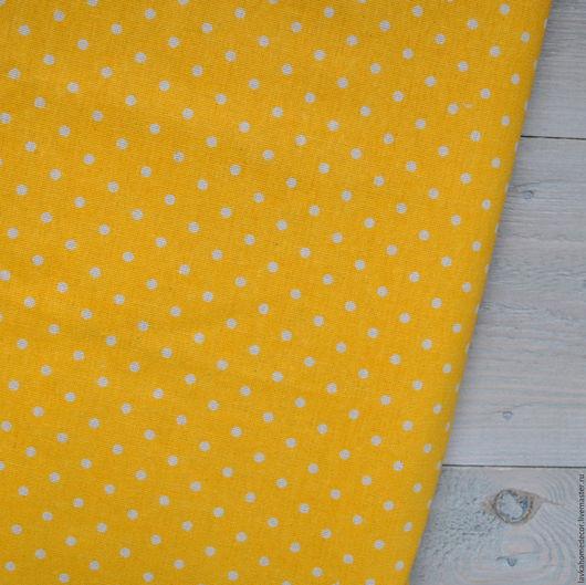 Лен натуральный желтый в Горох, 50х50см, 3194