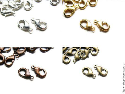 Для украшений ручной работы. Ярмарка Мастеров - ручная работа. Купить Замочек - карабин, серебро, золото, медь, черные. Handmade.