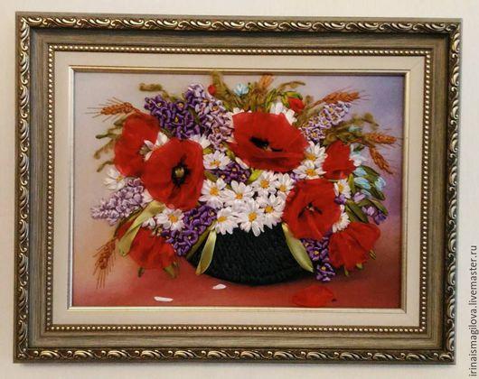 Картины цветов ручной работы. Ярмарка Мастеров - ручная работа. Купить Букет. Handmade. Вышивка, картина для декора, классический стиль
