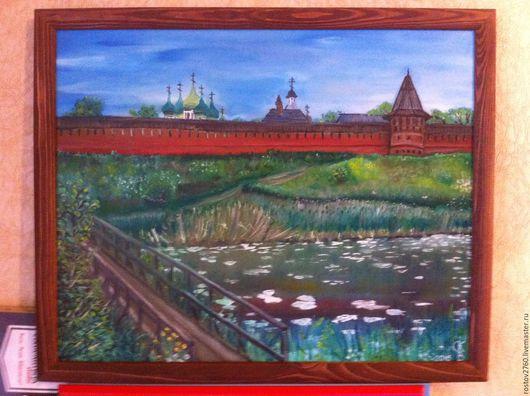 Пейзаж ручной работы. Ярмарка Мастеров - ручная работа. Купить Суздаль.Вид на Спасо-Ефимиев монастырь.. Handmade. Тёмно-зелёный