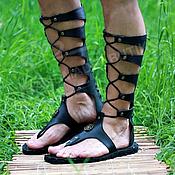 Обувь ручной работы handmade. Livemaster - original item Gladiators Men`s lace-up leather Black. Handmade.