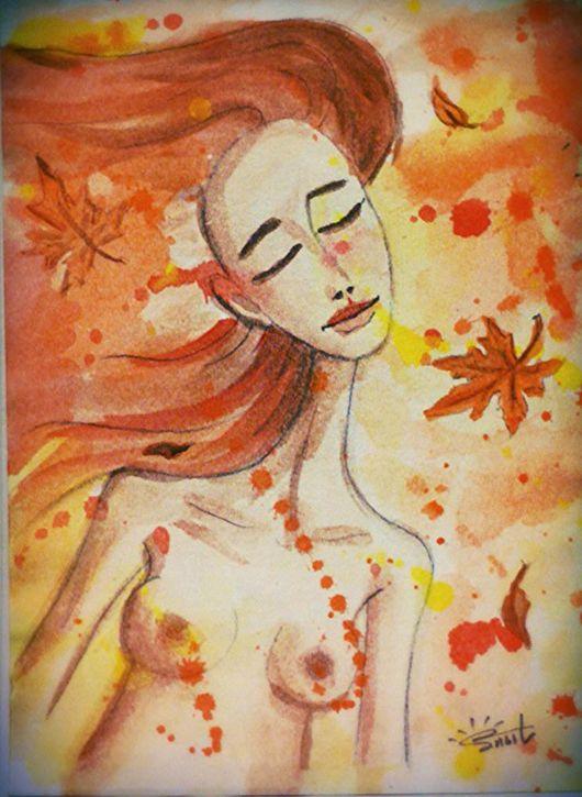 Абстракция ручной работы. Ярмарка Мастеров - ручная работа. Купить Осенний ветер. Handmade. Акварель, акварельная живопись, осень, портрет