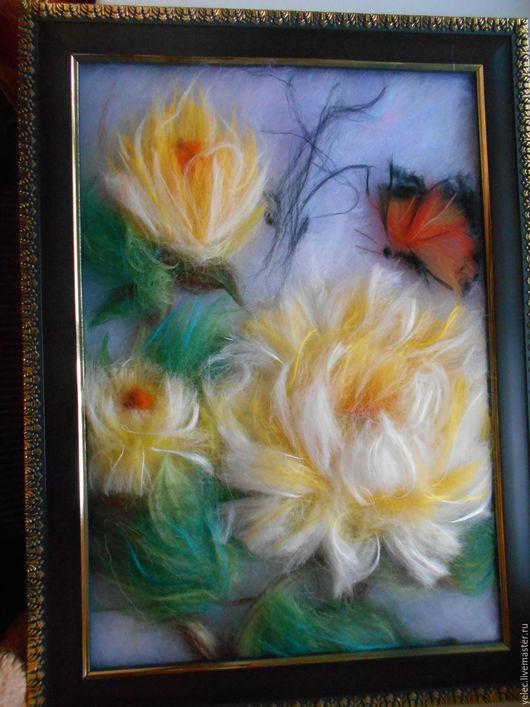 Картины цветов ручной работы. Ярмарка Мастеров - ручная работа. Купить Лето. Handmade. Желтый, пионы, картон