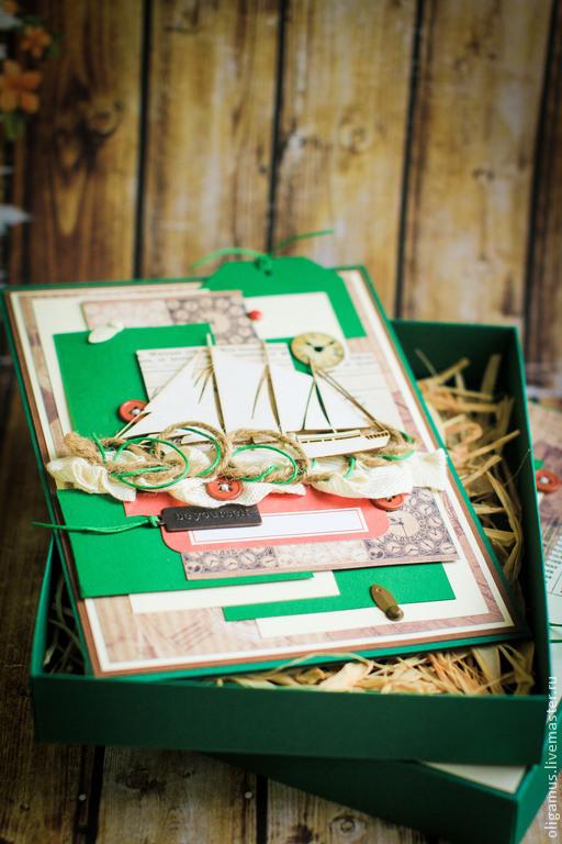 Открытки для мужчин, ручной работы. Ярмарка Мастеров - ручная работа. Купить Мужская открытка в коробке 29. Handmade. Тёмно-зелёный