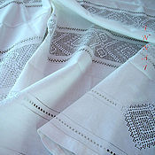Для дома и интерьера handmade. Livemaster - original item Tablecloth large embroidery, white linen, frayed, strojeva embroidery. Handmade.