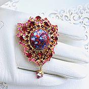 Винтаж handmade. Livemaster - original item Vintage Brooch with crystals and cabochon Czechoslovakia 60-70 years Czechoslovakia. Handmade.