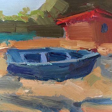 """Картины и панно ручной работы. Ярмарка Мастеров - ручная работа """"Синяя лодка"""". Handmade."""