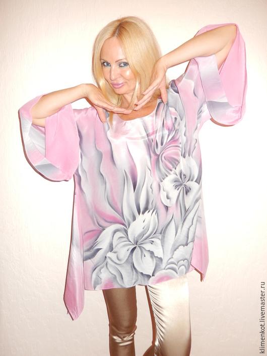 Блузки ручной работы. Ярмарка Мастеров - ручная работа. Купить блуза-туника  Нежность. Handmade. Бледно-розовый, ручная роспись
