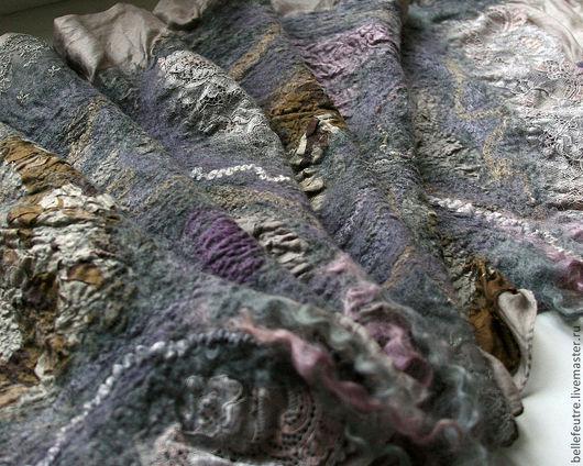 """Шали, палантины ручной работы. Ярмарка Мастеров - ручная работа. Купить Валяный шарф-палантин """"Lace Dream"""". Handmade. Серый"""