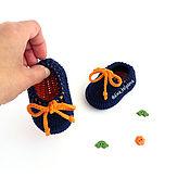 Работы для детей, ручной работы. Ярмарка Мастеров - ручная работа пинетки мокасины вязаные для мальчика, пинетки детские вязаные синий. Handmade.