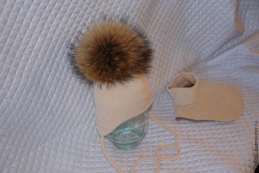 Шапки и шарфы ручной работы. Ярмарка Мастеров - ручная работа. Купить Зимняя шапка с шикарным помпоном. Handmade. Бежевый