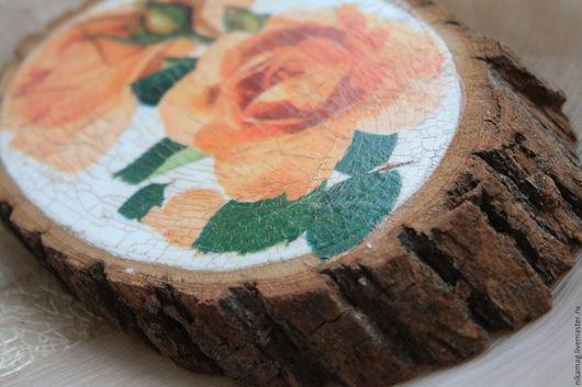 """Картины цветов ручной работы. Ярмарка Мастеров - ручная работа. Купить Панно на спиле дерева """"Цветы"""", декупаж, состаривание. Handmade."""