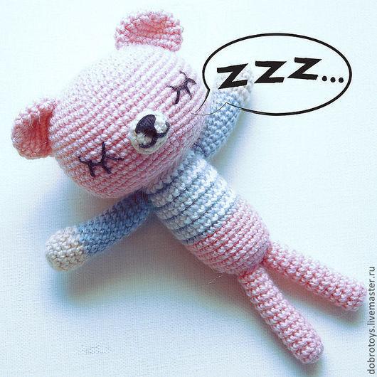 Игрушки животные, ручной работы. Ярмарка Мастеров - ручная работа. Купить Спящий мишка розовый. Handmade. Бледно-розовый, амигуруми