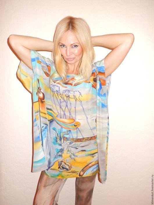 Блузки ручной работы. Ярмарка Мастеров - ручная работа. Купить блуза -Вечность.... Handmade. Голубой, ручная роспись, женская одежда