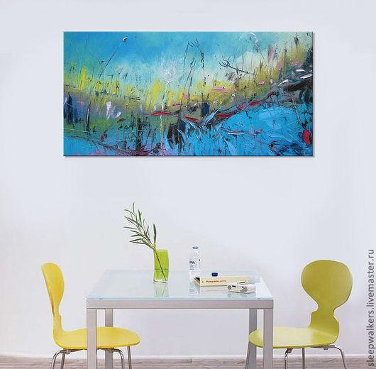 """Город ручной работы. Ярмарка Мастеров - ручная работа. Купить """"Блюз"""" 120х60 абстрактная картина маслом мастихином. Handmade. Голубой"""