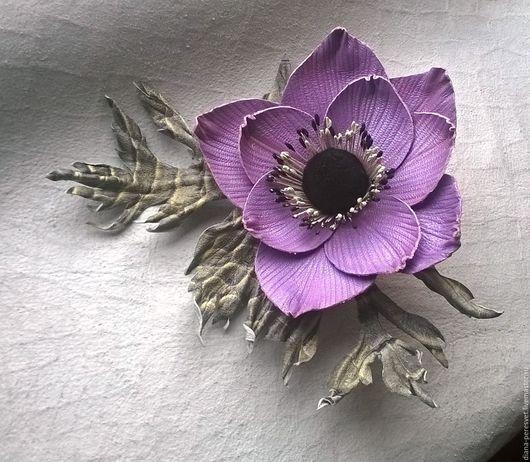 """Броши ручной работы. Ярмарка Мастеров - ручная работа. Купить Брошь из кожи """"Анемон"""". Handmade. Комбинированный, сиреневый цветок"""