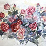 """Картины и панно ручной работы. Ярмарка Мастеров - ручная работа Акварель """"Розовая композиция 2"""". Handmade."""