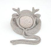 Работы для детей, ручной работы. Ярмарка Мастеров - ручная работа Фотореквизит для новорожденных шапочка Олененок + вязаная обмотка. Handmade.