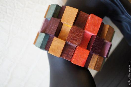 """Браслеты ручной работы. Ярмарка Мастеров - ручная работа. Купить Браслет из дерева """"Геометрия цвета"""". Handmade. Дерево, бреслет на резинке"""