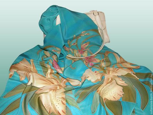 """Шарфы и шарфики ручной работы. Ярмарка Мастеров - ручная работа. Купить Шарф батик """"Орхидеи"""" вариант - мята. Handmade."""