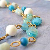 Украшения handmade. Livemaster - original item Beads with stones long with pendant Santorini to buy. Handmade.